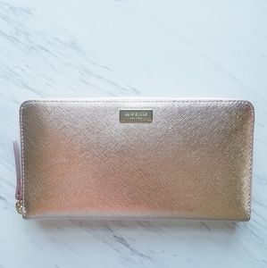 Kate Spade Neda Zip Around Wallet Rose Gold